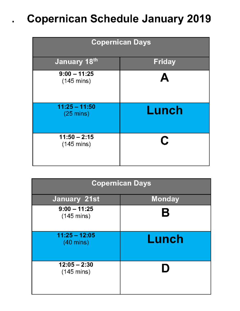 january bell schedule