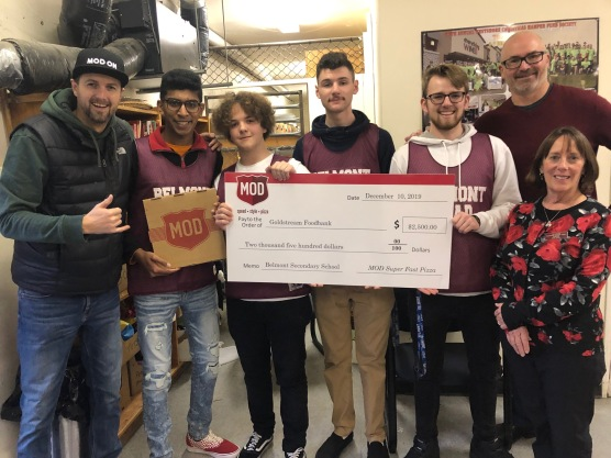 Jim from MOD Pizza, Zak, Mat, Jon, & Keagan present the Goldstream Food Bank with a cheque for $2500!