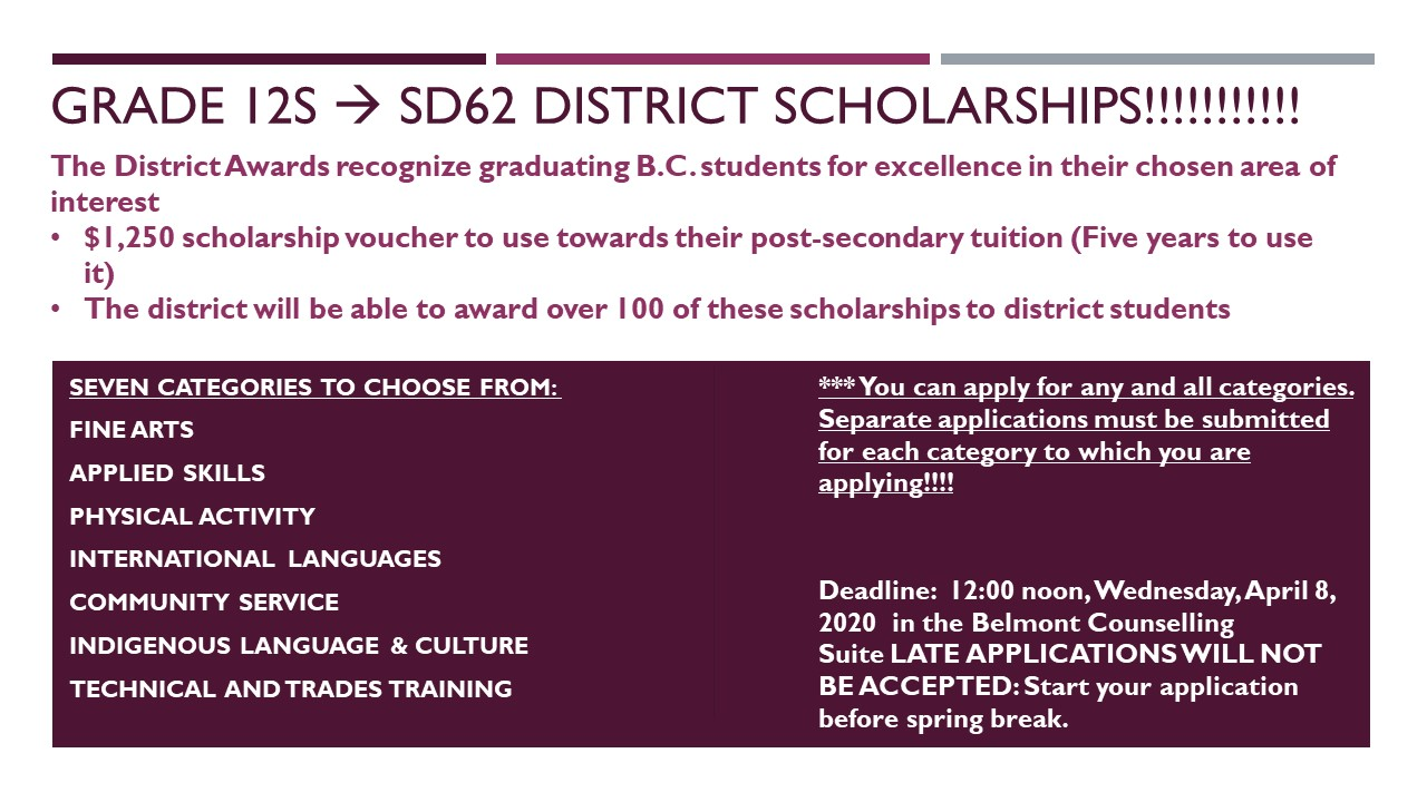 SD62 District scholarships - Slide for TVs