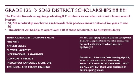 SD62 District scholarships - Slide for TVs