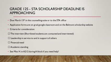 STA Scholarship deadline Slide - 2020