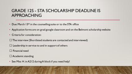 STA Scholarship deadline Slide - 2020